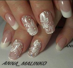 French manicure floral scroll nail art