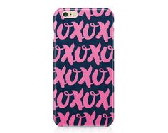 XOXO Phone Case, Valentine Pattern Phone Case, Love Phone Case, Pink and Navy Blue Phone Case, iPhone, Samsung Galaxy