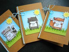 Woodland Friends Card Set of 3, Fox Thank You Card Set, Raccoon Card