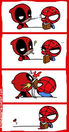 Spiderman x Deadpool Marvel Comic Universe, Marvel Art, Marvel Dc Comics, Marvel Avengers, Marvel Funny, Marvel Memes, Iron Man Capitan America, Deadpool Und Spiderman, Chibi