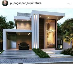 Discover the most glamorous and exciting architecture inspiration for your next interior design proj Best Modern House Design, Modern Exterior House Designs, Modern House Facades, Duplex House Design, House Front Design, Dream House Exterior, Modern House Plans, Exterior Design, Modern Design