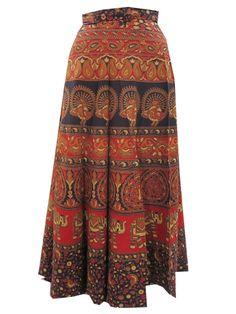 Womens Wrapskirt Orange Animal Printed Cotton Beach Wrap Around Skirts