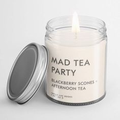 MAD TEA PARTY | book lovers' soy candle Soy Candles, Scented Candles, Candle Jars, Candle Labels, Candle Holders, Book Lovers Gifts, Book Gifts, Outlander Gifts, How To Age Paper