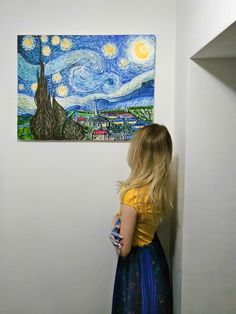 Starry Night inspired by Vincent Van Gogh, acrylic on canvas, 80x60cm.