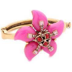 Oscar de la Renta Resin Flower Bracelet ($410) ❤ liked on Polyvore featuring jewelry, bracelets, pink, flower bracelet, pink bangles, resin bracelet, resin bangle and blossom jewelry