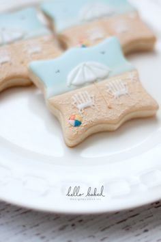 Beach cookie Summer Cookies, Fancy Cookies, Iced Cookies, Cute Cookies, Sugar Cookie Royal Icing, Cookie Icing, Cupcakes, Cupcake Cookies, Cookie Designs