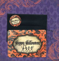 Halloween Cards w/Stickers Dancing Skeletons by luvcrystals, $5.95