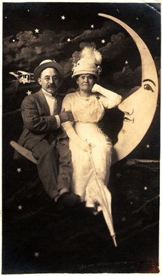1910s charming paper moon photo of an older couple!