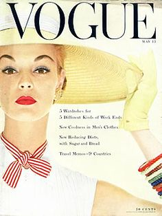 Vogue Cover May 1954 - Jean Patchett by Erwin Blumenfeld Vogue Magazine Covers, Fashion Magazine Cover, Fashion Cover, Magazine Ads, Vogue Vintage, Vintage Vogue Covers, Vintage Fashion, 1950s Fashion, Vintage Barbie