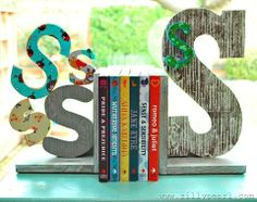 DIY Mod Podge Rocks stenciled bookends with monogram letters, so cute! click thru for the full tutorial. #plaidcrafts #diy #crafts #modpodge #modpodgerocks
