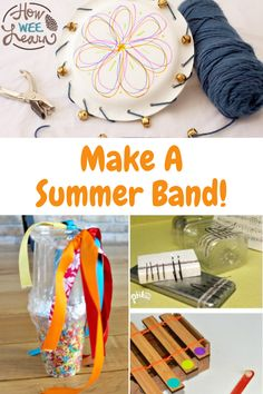 These homemade musical instruments are so easy for kids to make. They are fun and silly DIY instruments which are perfect for making a summer band! Homemade Musical Instruments, Elementary Science, Sensory Play, Summer Crafts, Art Activities, Musicals, Preschool, Band, How To Make