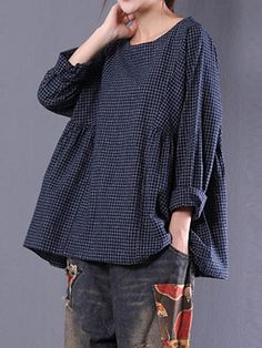 Women Crewneck Check Long Sleeve Loose Baggy Blouse Large Cotton FREE SHIP Blue #Doesnotapply #Blouse #Casual