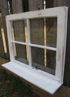 old window shelf 4 pane window with shelf 24 x 19 white distressed window