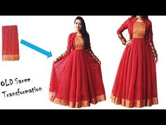 Diwali Special: Convert Your Old Saree in to Designer Festive Wear Long . Diwali Special: Convert Your Old Saree in to Designer Festive Wear Long . Lehenga, Saree Gown, Sari Dress, Long Dress Design, Dress Neck Designs, Stylish Dress Designs, Blouse Designs, Anarkali Dress Pattern, Anarkali Patterns