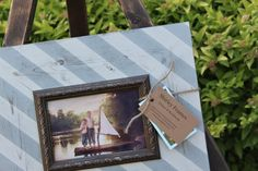 Diagonal Stripes Distressed Picture Frame Hazy by ShirleyFrames