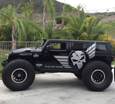 Here we have a set of awesome tires with a chopped Jeep sitting on them. I love it.