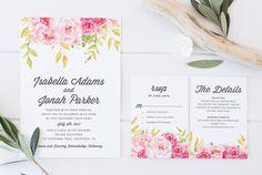 Invito a nozze stampabile invito di nozze fai da di CoralLanePaper