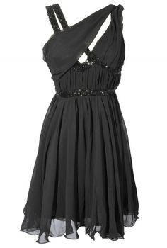 Asymmetrical Chiffon and Sequin Party Dress in Black $46 at Lily Boutique