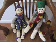 2 Vintage Toy Large Sock Monkey Pair Fez Hat Pom Pom Dress Handsewn Amazing   eBay