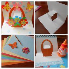 Делаем подарок маме на 8 марта. ОБЪЕМНАЯ ОТКРЫТКА КОРЗИНКА С ЦВЕТАМИ. #поделки_для_детей