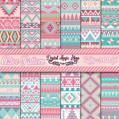 Pattern Aztec 12 Lovely Aztec Pattern Digital Paper, Ikat, geometric pattern, native Indian, N. Geometric Patterns, Loom Patterns, Quilt Patterns, Papel Scrapbook, Scrapbooking, Motifs Aztèques, Thai Pattern, Create Invitations, Aztec Designs