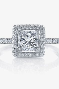 Breathtaking Princess Cut Engagement Rings ❤ See more: http://www.weddingforward.com/princess-cut-engagement-rings/ #weddings