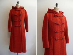 Vintage 1960s Coat Red Hooded Duffle Coat by CreatedAndCollected, $198.00
