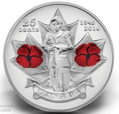 Beautiful World Coins: All the Colored Poppy Circulating Commemorative Coins issued by the Royal Canadian Mint for Remembrance Day Mint Coins, Silver Coins, Badges, Coin Books, Canadian Things, Canadian History, Canadian Army, 65th Anniversary, Coin Design