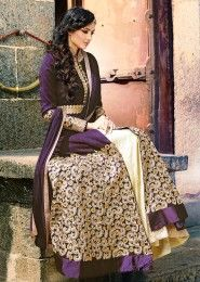 Party Wear banglori silk Purple Antique Work Straight Suit