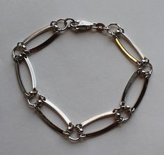 Sterling Silver Wide Link Bracelet by onetime on Etsy, $14.25