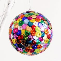 Perfect for New Year's Eve or any other time you need festive decorations, easy ornaments made from brightly colored sequins!