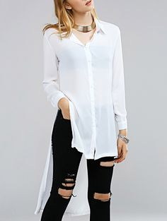 Brief Pure Color High-Low Long Sleeve Shirt For Women