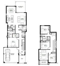 modern 2 storey house plans with double storey 4 bedroom Two Storey House Plans, Narrow House Plans, Modern House Plans, Modern Houses, Small Houses, Architecture Art Nouveau, Architecture Design, Southern Living, Arquitetura