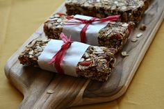 Homemade granola bars - this is just one recipe; you can use any dried fruit or nuts that you have on hand!  Also, you can substitute honey for syrup, use Almond Butter for a binding agent and extra nutrients, etc.  Basically, make it your own!