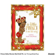 Prince Baby Shower Red Gold White Ethnic 5x7 Paper Invitation Card