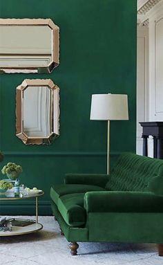 Dark Green Living Room, Living Room Accents, Cozy Living Rooms, Living Room Furniture, Living Room Decor, Bedroom Decor, Modern Bedroom, Bedroom Ideas, Interior Design Blogs