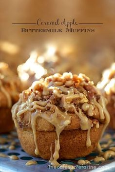 Caramel Apple Buttermilk Muffins - What a winning combination! They rise up tall and high and are topped with a delicious buttery cinnamon crumble. Apple Desserts, Fall Desserts, Health Desserts, Apple Recipes, Fall Recipes, Baking Recipes, Baking Desserts, Autumn Muffin Recipes, Fall Dessert Recipes