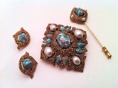 Vintage Sarah Cov Parure, Goldtone and Turquoise Confetti and Faux Pearl, Brooch or Pendant, Earrings, Stick Pin, FREE SHIPPING