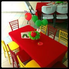The Very Hungry Caterpillar Birthday theme: Kids tables