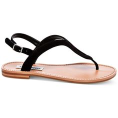 Steve Madden Women's Takeaway Flat Sandals ($59) ❤ liked on Polyvore featuring shoes, sandals, black, flat footwear, kohl shoes, steve madden sandals, black flat sandals and black sandals