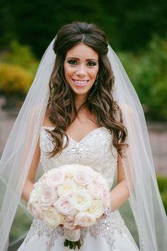 half up half down wedding hair with soft curls ~ we ❤ this! moncheribridals.com