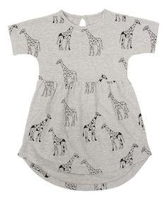 Gray Geometric Giraffe Hi-Low Dress - Toddler & Girls Toddler Girl Dresses, Little Girl Dresses, Girls Dresses, Summer Dresses, Toddler Girls, One Piece Outfit, Hi Low Dresses, Everyday Dresses, Cute Outfits For Kids