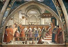 Domenico Ghirlandaio -Confirmation of the Franciscan Rule, with portraits of Lorenzo de Medici and his family included. in the Sassati Chapel of he Medici Palace