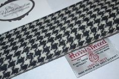 HARRIS TWEED FABRIC & LABELS 100% wool BLACK & WHITE HOUNDSTOOTH scottish 1 in Crafts, Sewing & Fabric, Fabric   eBay