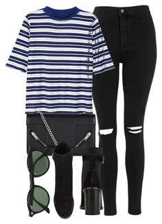 """Untitled #6923"" by laurenmboot ❤ liked on Polyvore featuring Topshop, H&M, Yves Saint Laurent, rag & bone and Ray-Ban"