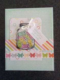 Simon Says March card kit #SSSFAVE Note: the circle paper was made using the outline stamp for the bunny tail