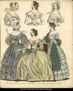Morning and evening dresses, 1841, unknown source (English language)