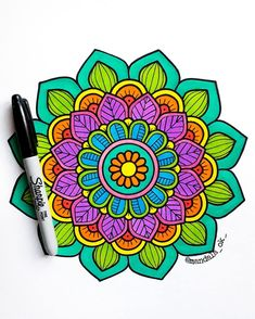 Abstract Mandala Coloring Page For Adults – Coloring Mandalas Mandala Doodle, Mandala Art Lesson, Mandala Drawing, Mandala Coloring Pages, Adult Coloring Pages, Dibujos Zentangle Art, Design Art, Line Design, Sharpie Art