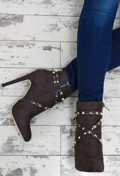 Booty Camp Grey Faux Suede Studded Ankle Boots