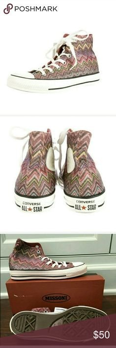 Missioni Converse High Tops 7.5 New with the box.  Ridiculously cute design and colors. Converse Shoes Sneakers